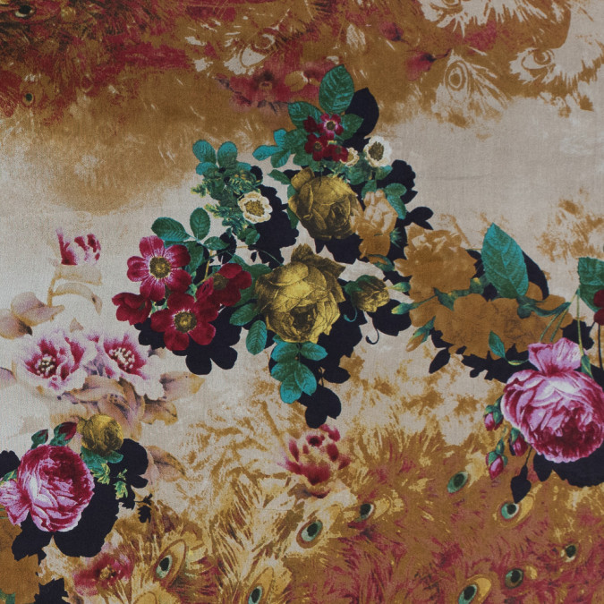 golden brown floral and peacock feather printed silk chiffon 315769 11