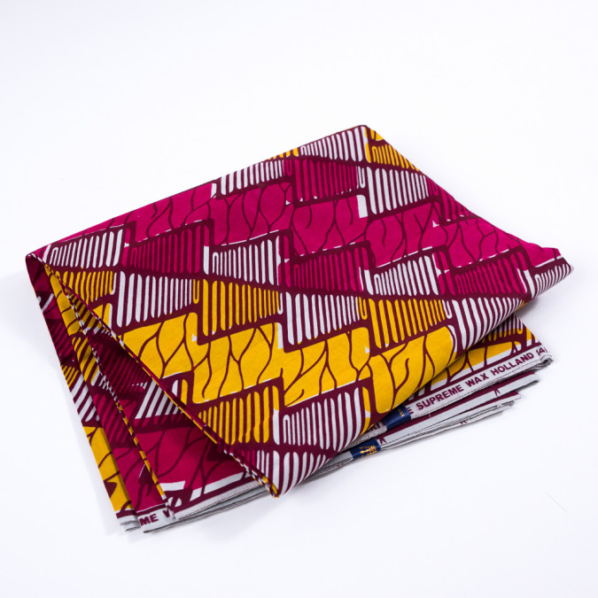 golden rod and fuchsia abstract waxed cotton african print 313276 11
