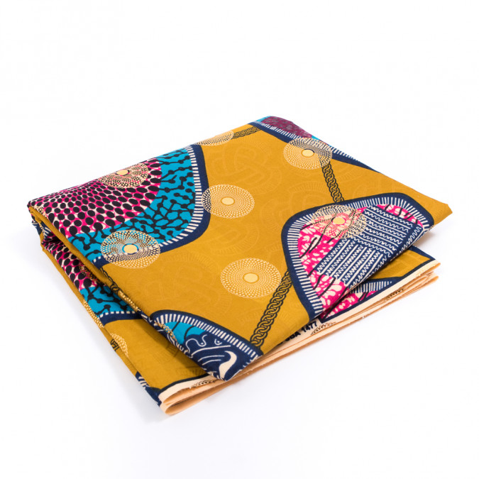 golden yellow waxed cotton african print with inlaid print and metallic gold foil 317784 11