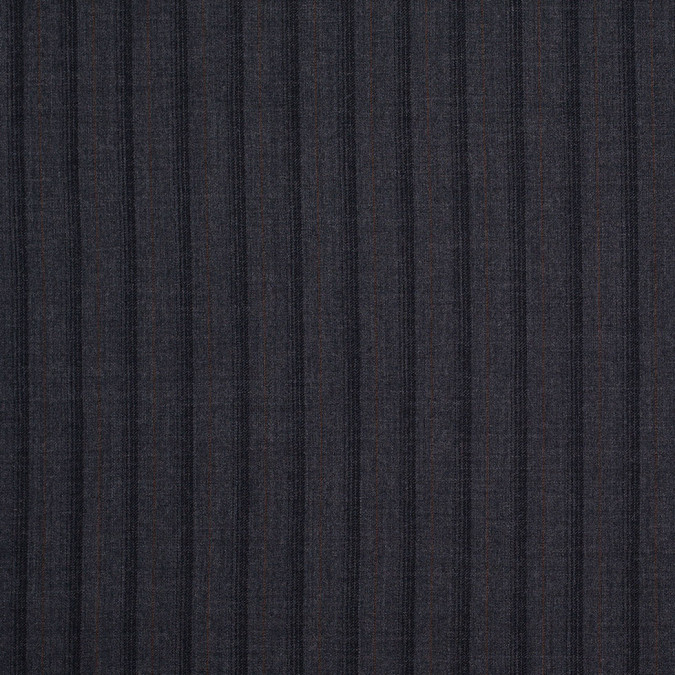 gray and black striped wool flannel suiting 304607 11
