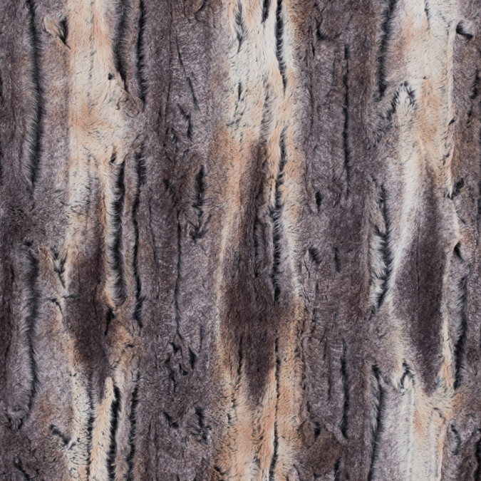 gray and ivory printed and embossed stretch faux fur 312766 11
