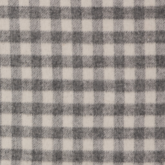 gray off white checkered brushed wool coating w gray fleece backing 309100 11
