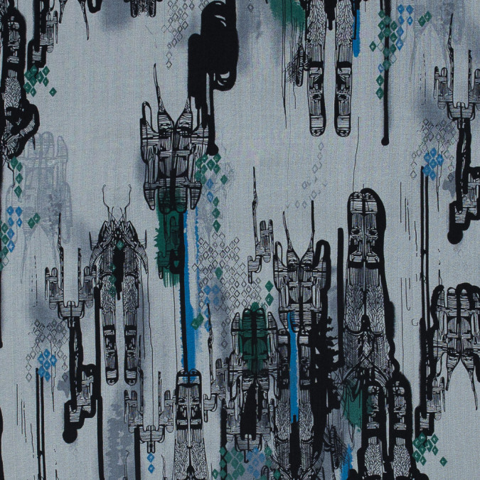 green black and dark blue abstract silk chiffon 315809 11