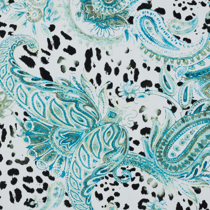 green and blue paisley stretch cotton sateen 318629 11