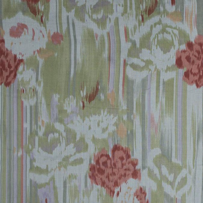green and coral abstract printed silk chiffon 315912 11