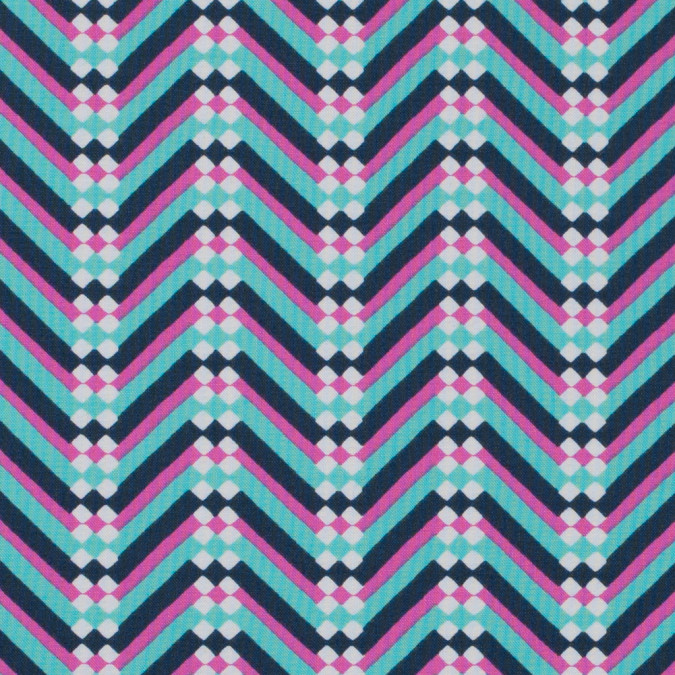 green and pink chevron printed cotton woven 313089 11