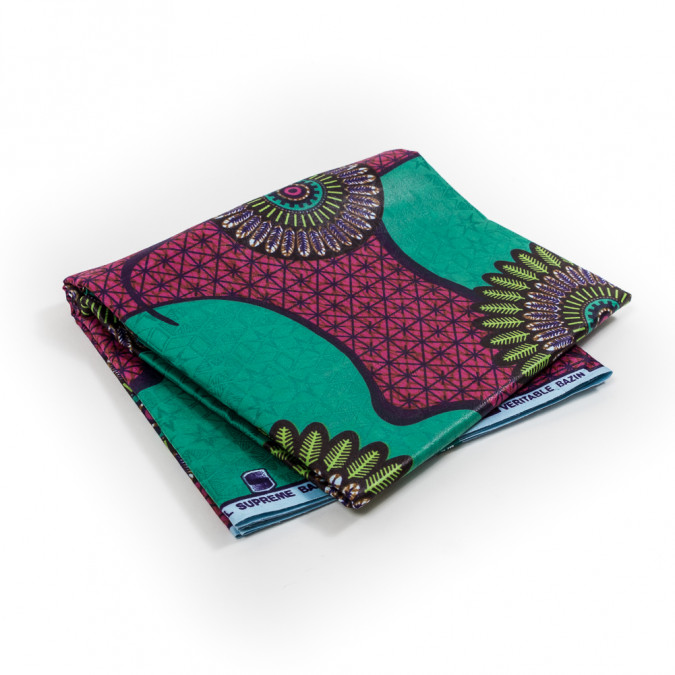 green and pink geometric waxed cotton african print with additional inlaid print 317774 11