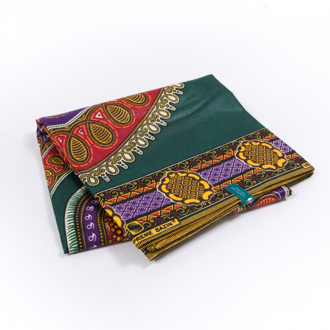green and red waxed cotton african print with additional inlaid pattern 319556 11
