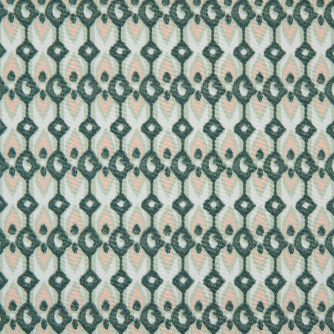 green geometric ikat printed stretch cotton sateen 114401 11