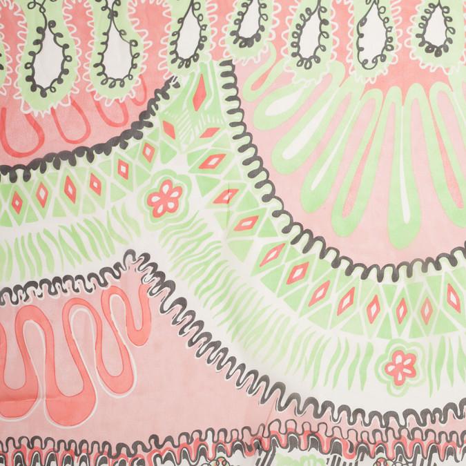 green pink abstract floral printed silk chiffon 307160 11