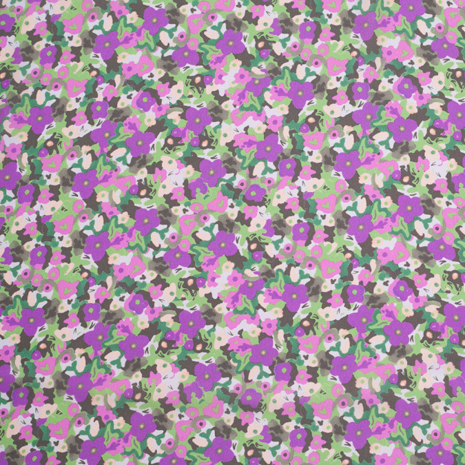 green purple cartooned floral digitally printed polyester charmeuse 307415 11