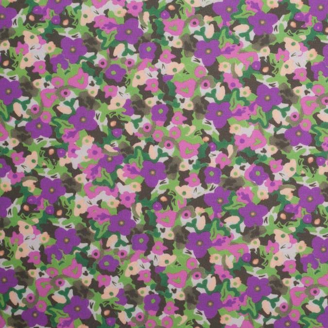 green purple cartooned floral digitally printed stretch neoprene scuba knit 307431 11