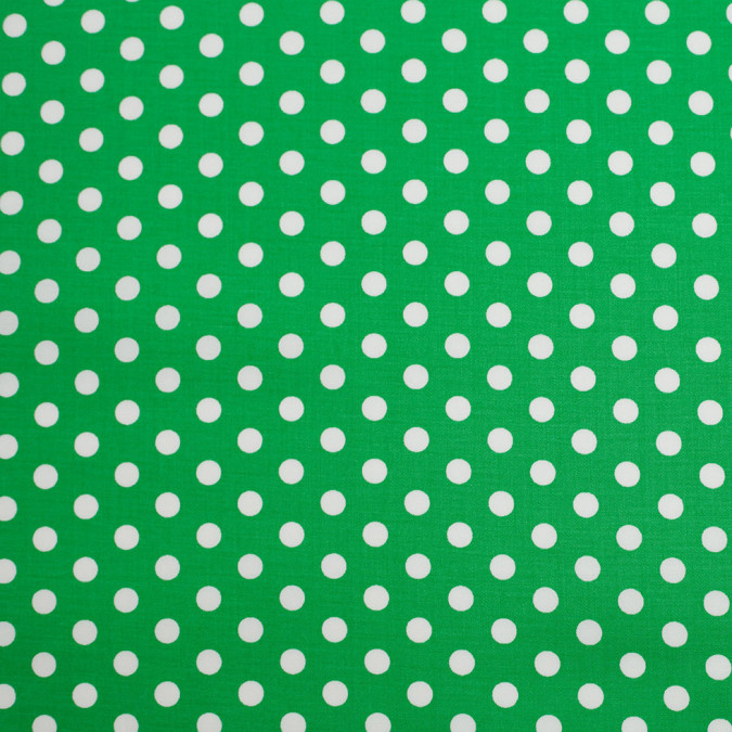 green white polka dotted stretch cotton twill 306390 11