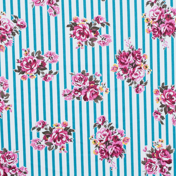 harbor blue carmine rose and white floral striped stretch cotton twill 314644 11