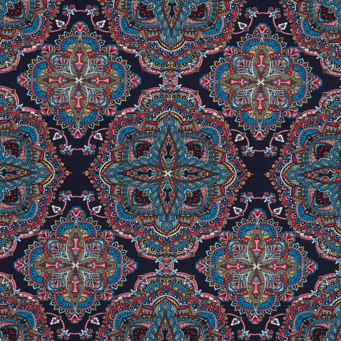 indigo blue paisley floral brushed cotton woven 315986 11