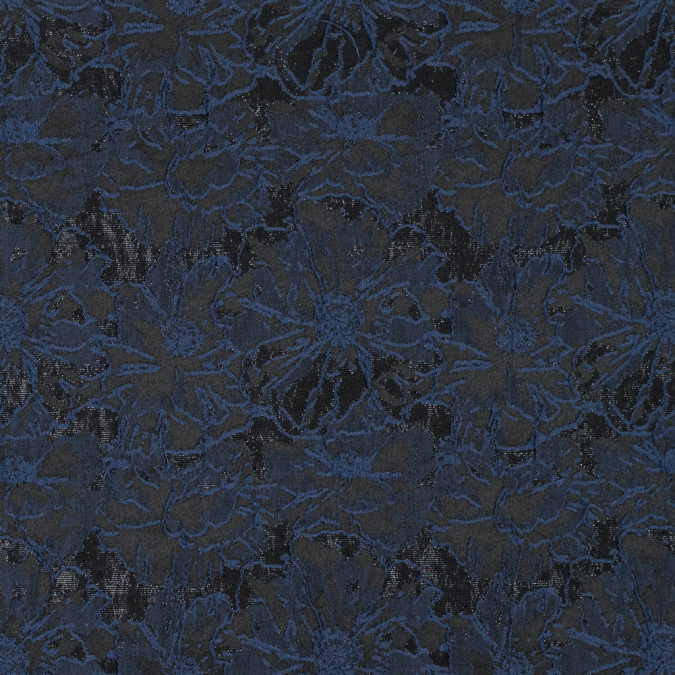 insignia blue and metallic black floral brocade 315315 11