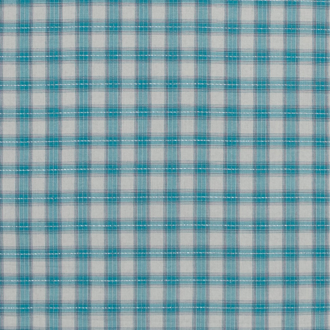 italian aqua metallic tartan plaid cotton voile 316343 11
