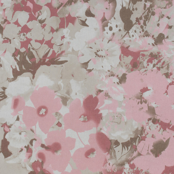 italian beige and rose floral cotton batiste 317312 11