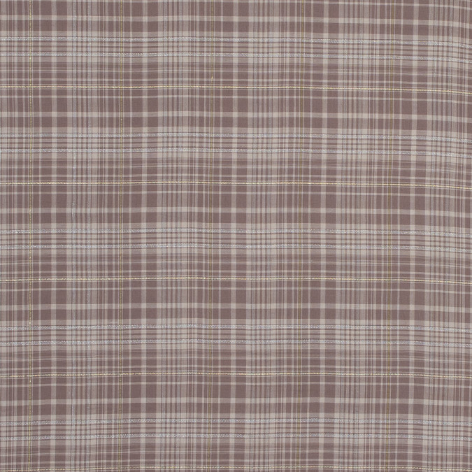 italian beige metallic plaid cotton voile 316339 11