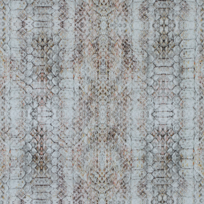 italian beige python printed stretch cotton woven 316610 11