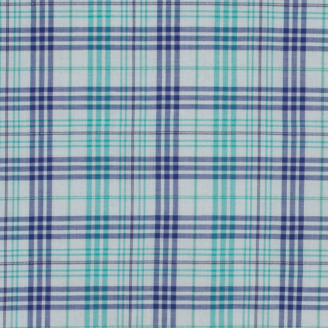 italian bit of blue metallic plaid cotton voile 316346 11