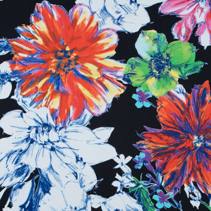 italian black and royal blue floral printed stretch cotton twill 316678 11