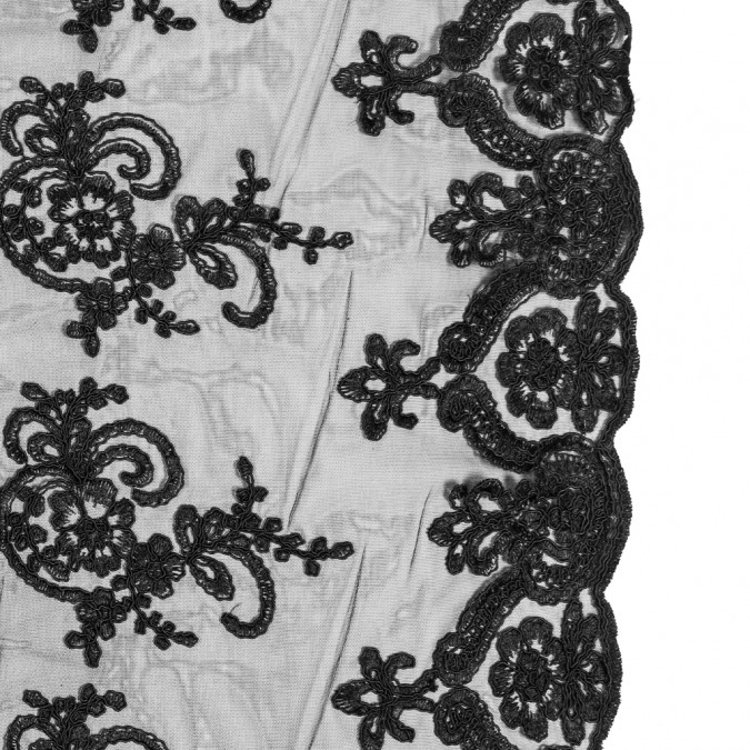 italian black floral re embroidered lace 316326 11