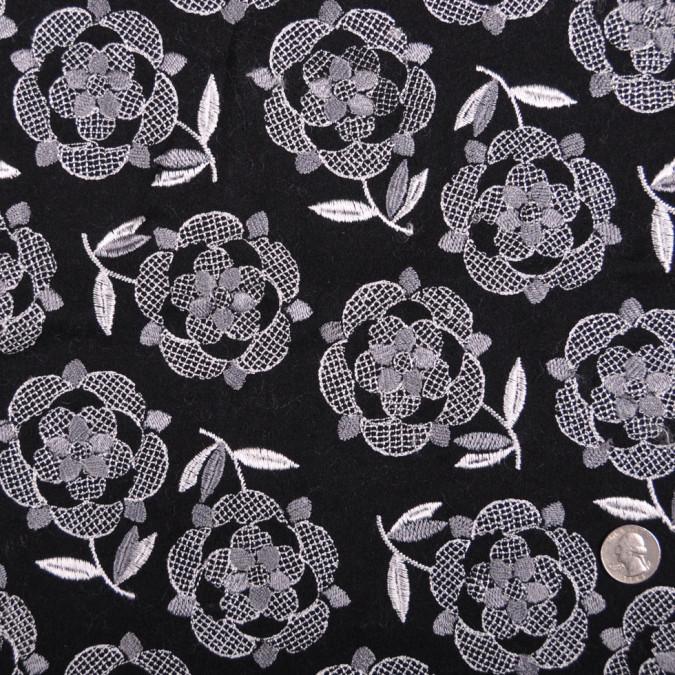 italian black pale gray floral wool flannel fw11216 11