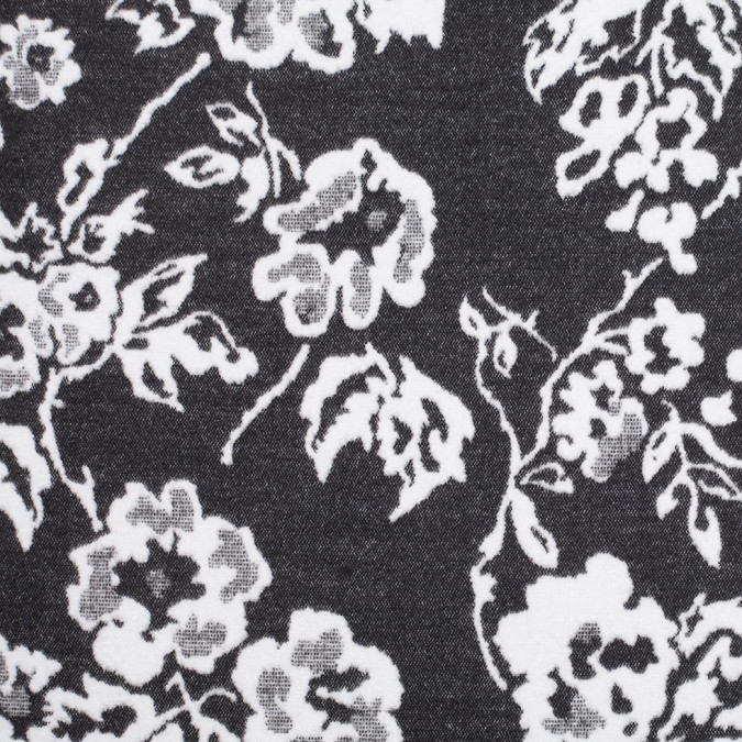 italian black white floral double faced acrylic fleece 306852 11