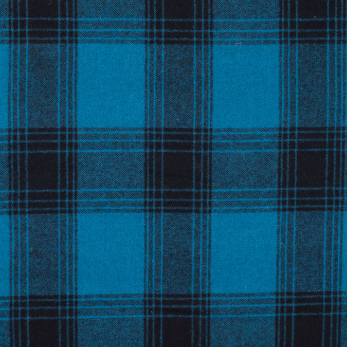 italian blue and black plaid blended wool twill 313041 11