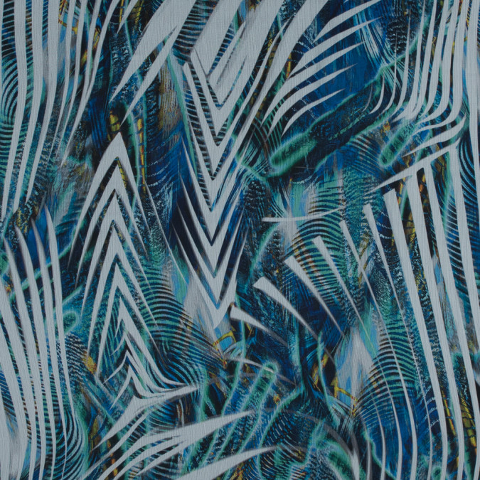 italian blue and green abstract crinkled chiffon 316220 11