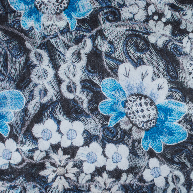 italian blue floral digitally printed polyester charmeuse 316362 11