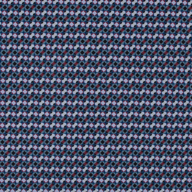 italian blue geometric digitally printed stretch polyester 316770 11