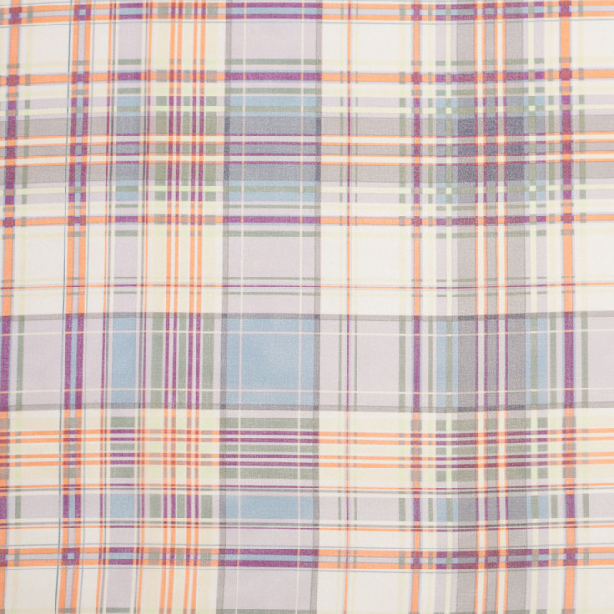 italian blue green orange plaid polyester chiffon 306292 11