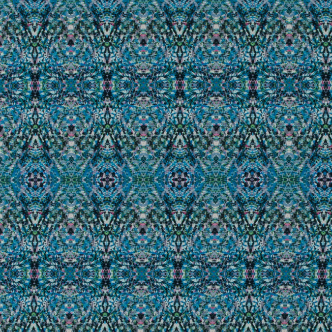 italian blue kaleidoscopic digitally printed stretch polyester 316769 11