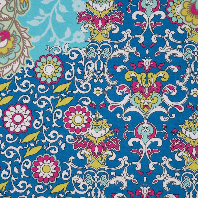 italian blue magenta floral printed cotton batiste 310256 11