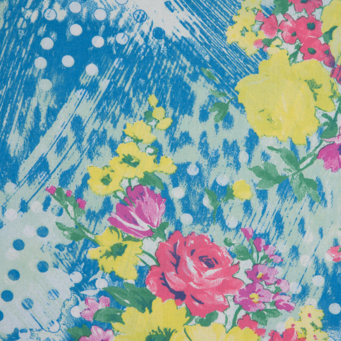 italian blue pink yellow spotted floral printed cotton batiste 310260 11