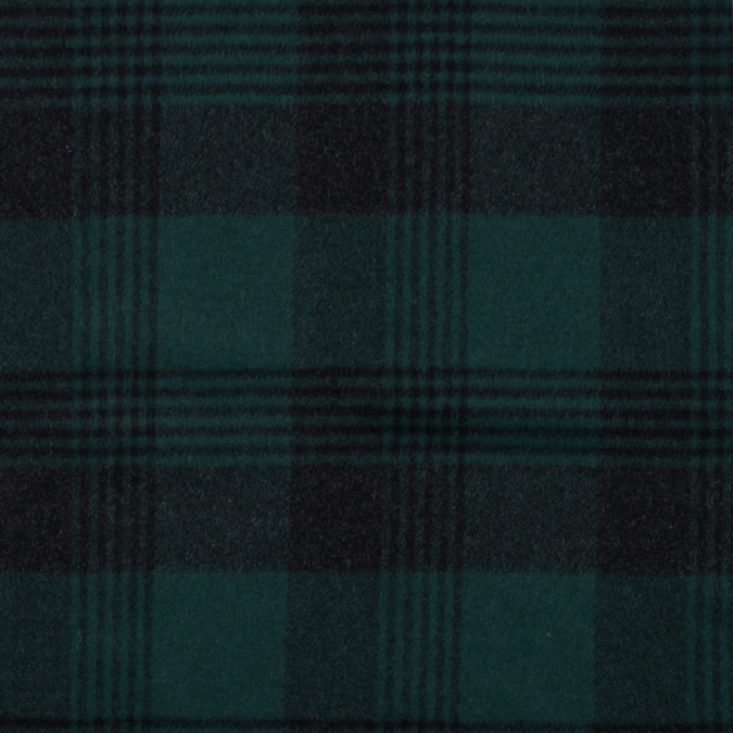 italian bottle green plaid brushed wool twill 314986 11