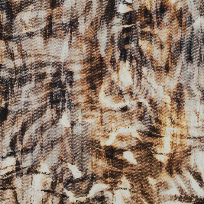 italian brown abstract printed stretch cotton twill 316162 11