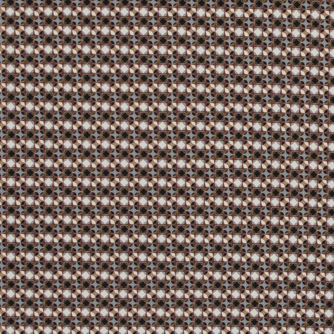 italian brown geometric digitally printed stretch polyester 317458 11