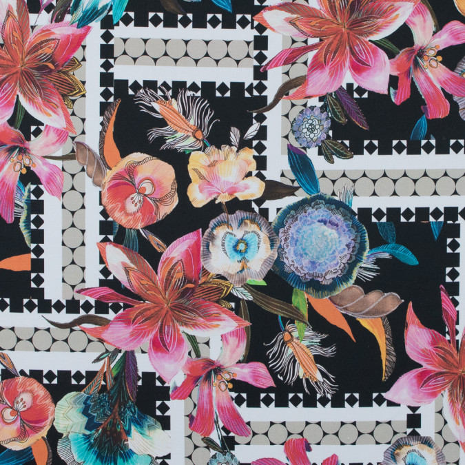 italian floral and geometric stretch cotton twill 316689 11