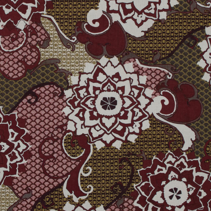 italian garnet red floral cotton batiste 317419 11
