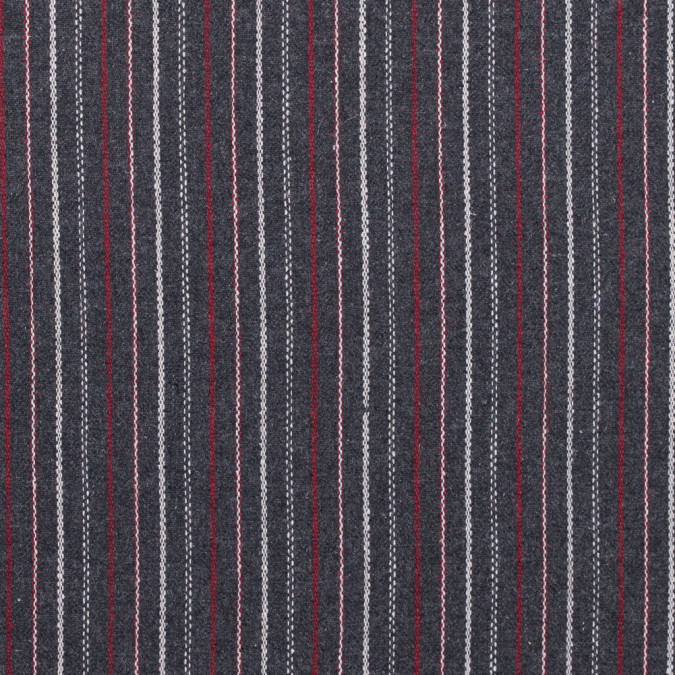italian gray red and white striped blended wool twill 313040 11