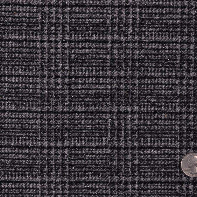 italian gray plaid wool lurex novelty tweed fw12252 11