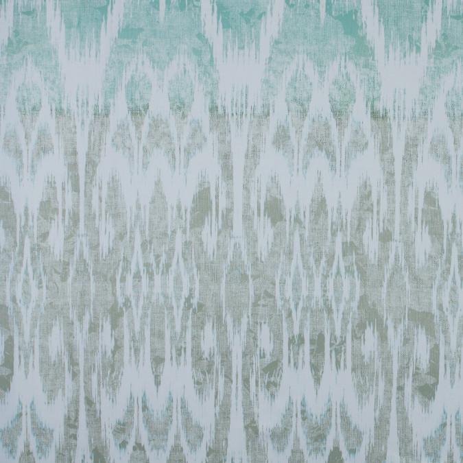 italian green ikat printed stretch cotton sateen 316692 11