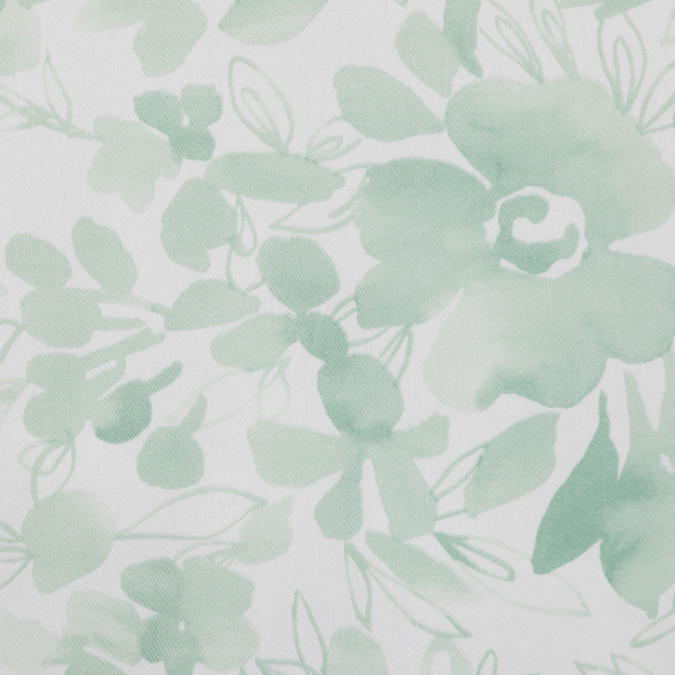 italian green white floral stretch cotton sateen 309050 11