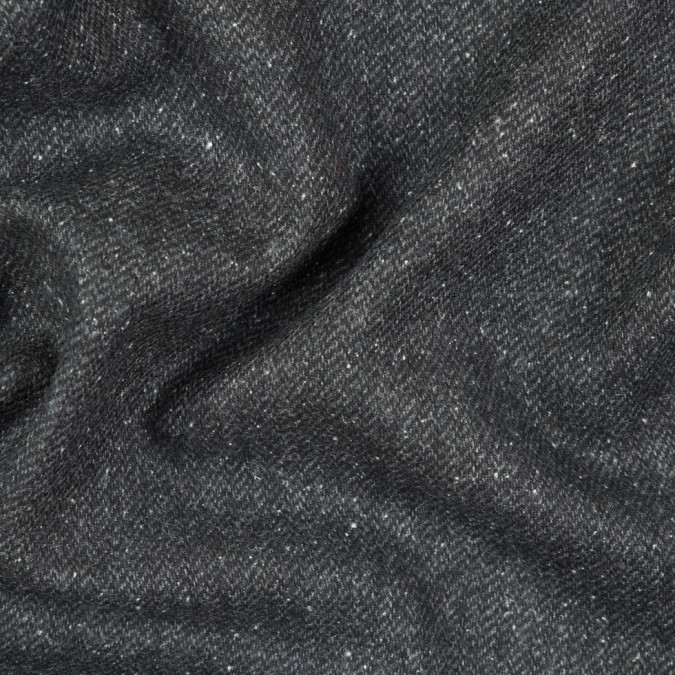 italian heathered dark shadow gray speckled wool twill 310496 11