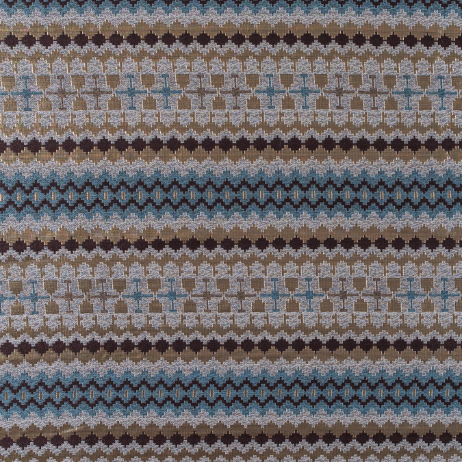 italian metallic gold brown and blue geometric brocade 312083 11