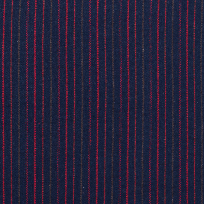 italian navy red and green striped blended wool twill 313036 11