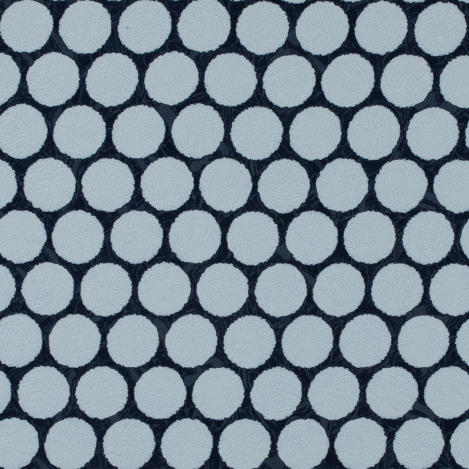 italian navy and white polka dotted cotton jacquard 316372 11